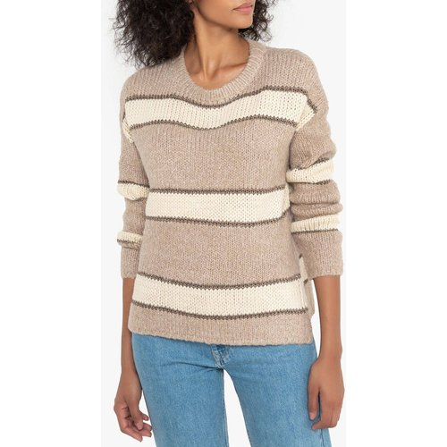 Pull grosse maille col rond, bandes - SEE U SOON - Modalova