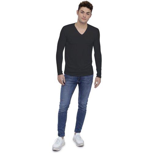 T-shirt col V découpe dans le dos manches longues en modal BEN - RENDEZ-VOUS PARIS - Modalova