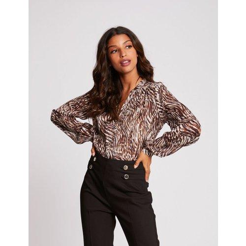 Pantalon droit taille haute à pinces - Morgan - Modalova