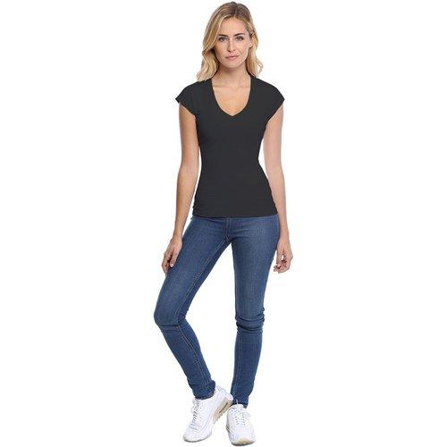 T-shirt col V manche courte cape en modal SYLVIA02 - RENDEZ-VOUS PARIS - Modalova