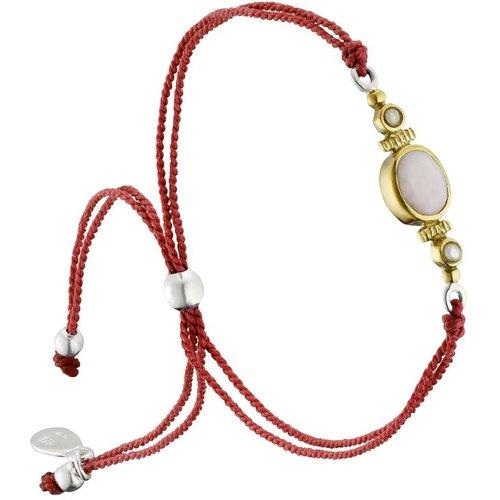 Bracelet cordon en argent 925, dorure or, Opale, Perle fine, 1.70g - Canyon - Modalova