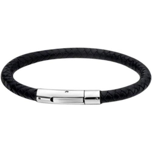 Bracelet Style En Cuir Noir Tressé - Lotus - Modalova