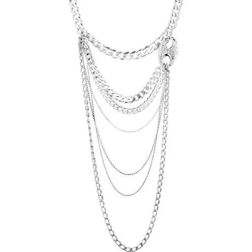 Collier plastron multi-rangs chaîne maille gourmette Couture plaqué - CLIO BLUE - Modalova