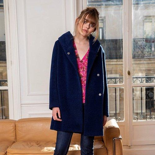 Manteau court à capuche drapée en alpaga - CHEMINS BLANCS - Modalova