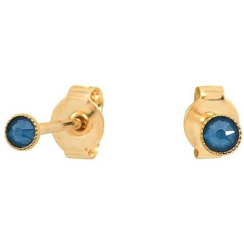 Boucles d'oreilles dorées à l' fin cristal bleu CANCUN - CAROLINE NAJMAN - Modalova