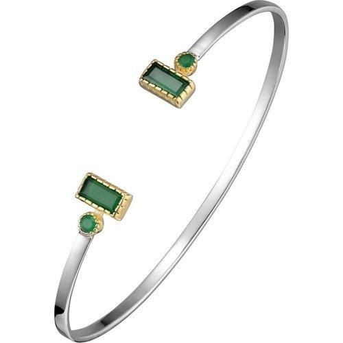 Bracelet jonc rectangle en argent 925, dorure en or, Onyx, , 6.2g, Ø55mm - Canyon - Modalova