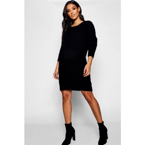 Robe pull de grossesse courte col rond manches longues - BOOHOO MATERNITY - Modalova