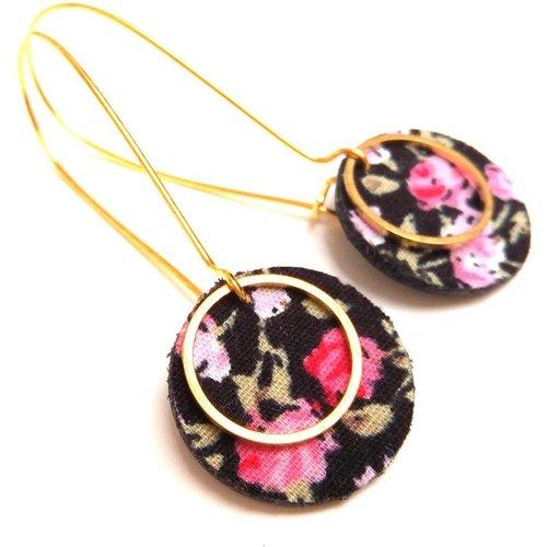 Boucles fleurs cuir et tissu liberty rose - JUL&FIL - Modalova
