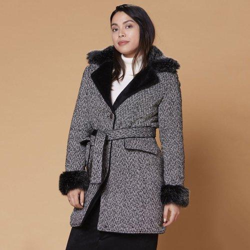Manteau mi-long boutonné et ceinturé - DERHY - Modalova