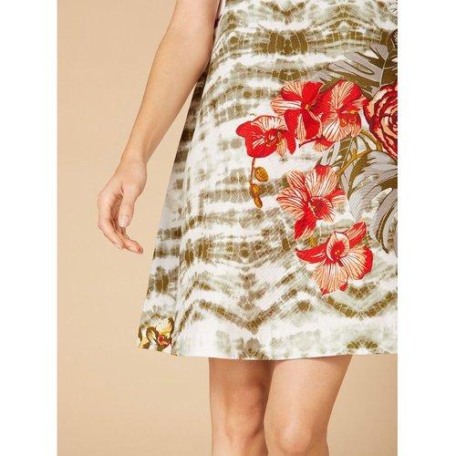 Robe droite fleurie col rond, sans manches - DERHY - Modalova