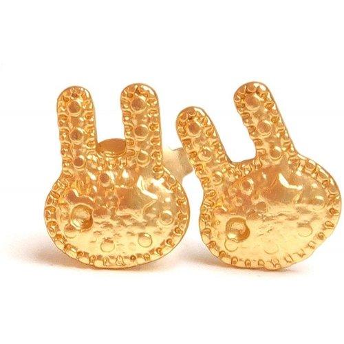 Puces d'oreilles lapins laiton doré - JUL&FIL - Modalova