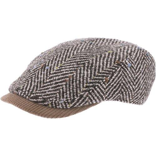 Casquette béret plate tweed laine chevronnée PUFFIN - HERMAN - Modalova