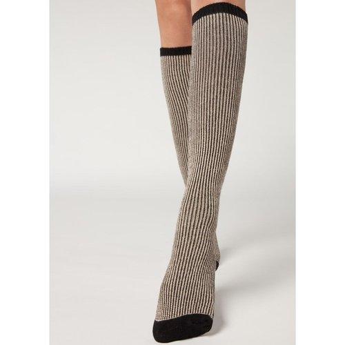 Chaussettes longues opaques avec cachemire et paillettes côtelées - CALZEDONIA - Modalova