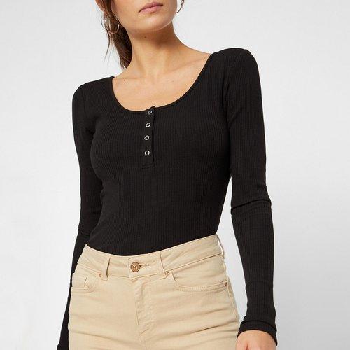 T-shirt manches longues, effet côtelé - Pieces - Modalova