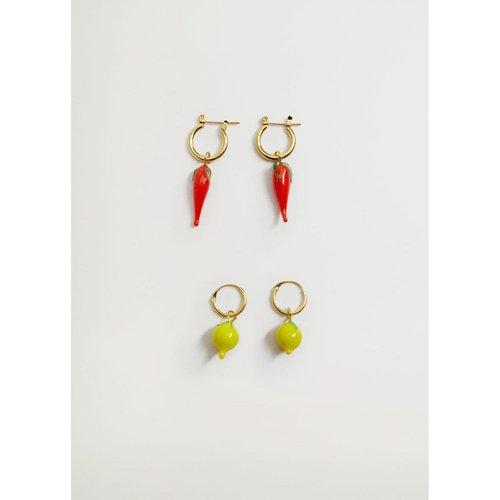 Boucles d'oreilles pendentifs combinés - Mango - Modalova