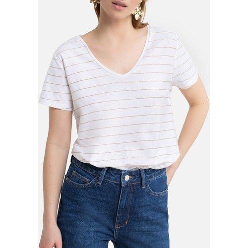 T-shirt rayé, col V - Pieces - Modalova