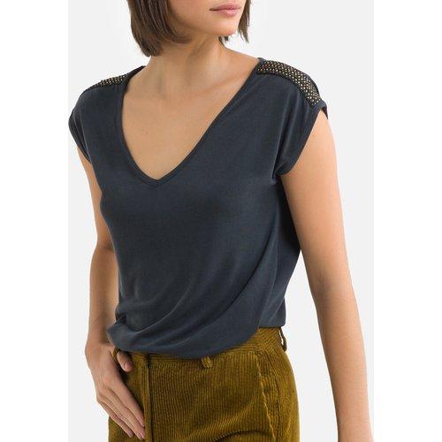 T-shirt manches courtes, bijoux épaules - Pieces - Modalova
