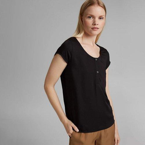 T-shirt col rond boutonné, manches courtes - Esprit - Modalova
