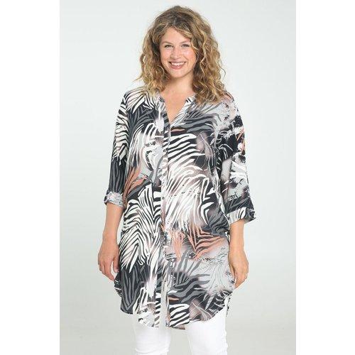 Tunique chemise longue Doris en viscose imprimée col chemise manches longues - PAPRIKA - Modalova