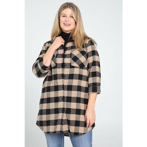 Chemise longue à carreaux col chemise manches longues - PAPRIKA - Modalova