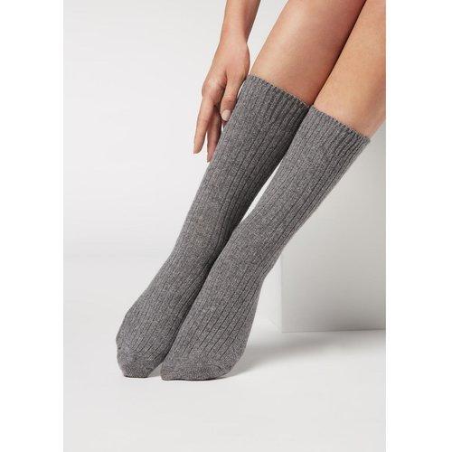 Chaussettes courtes côtelées en laine et cachemire - CALZEDONIA - Modalova