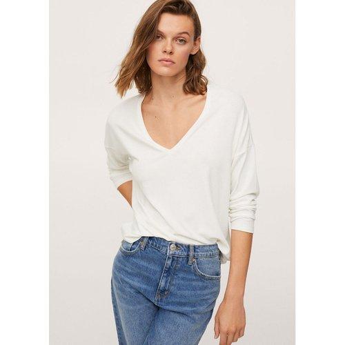 T-shirt manches longues col V - Mango - Modalova