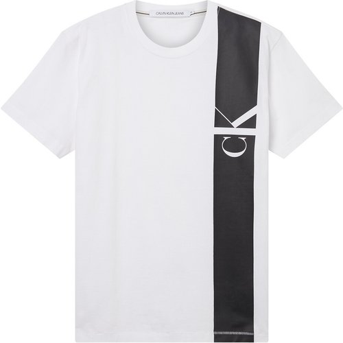 T-shirt col rond Vertical CK Panel - Calvin Klein Jeans - Modalova