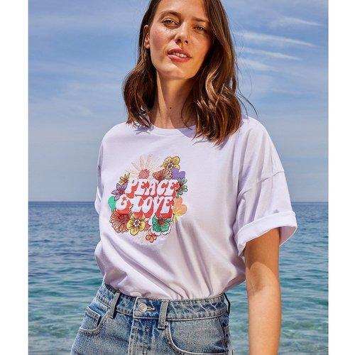 T-shirt imprimé fleuri 'peace & love' JANE - ETAM - Modalova