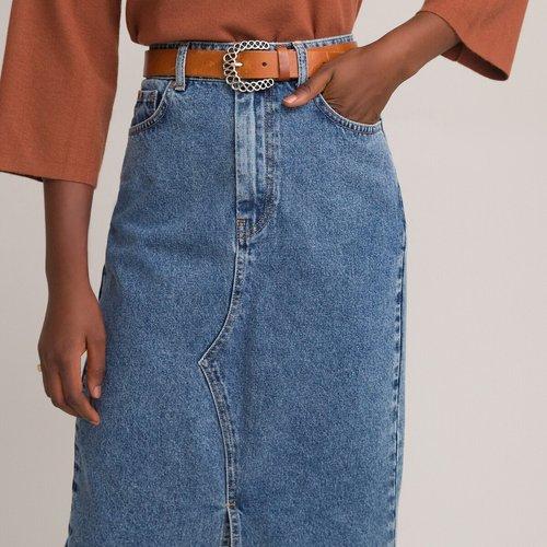 Jupe droite en jean mi-longue - LA REDOUTE COLLECTIONS - Modalova