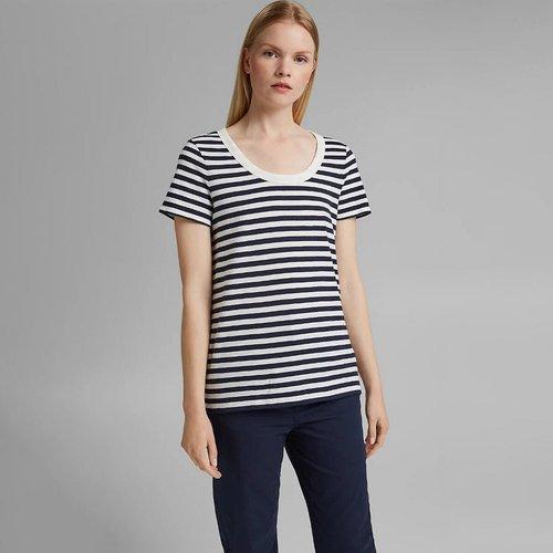 T-shirt marinière col rond, manches courtes - Esprit - Modalova