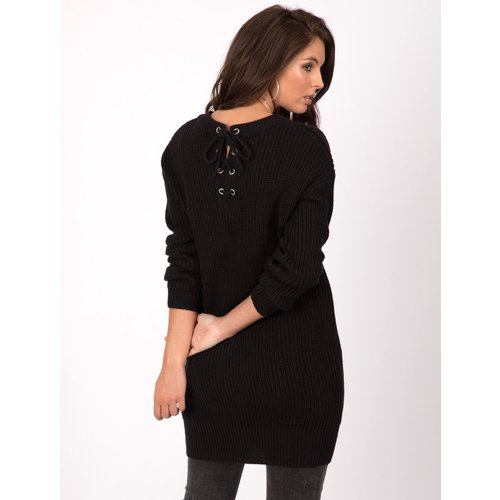 Tokyo Laundry Jumpers Lion Longline Jumper Dress with Tie Back Detail in Black - Tokyo Laundry / M