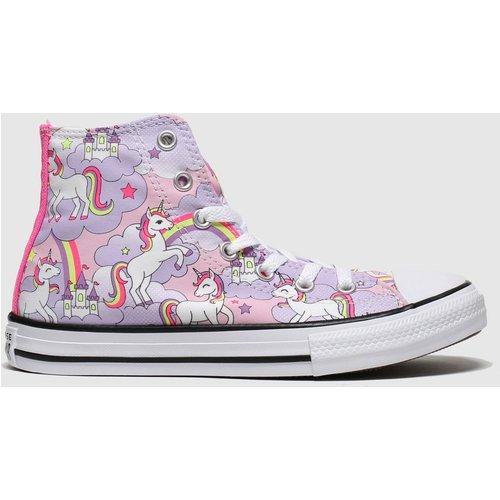 Converse Lilac All Star Hi Neon Unicorn Trainers Junior