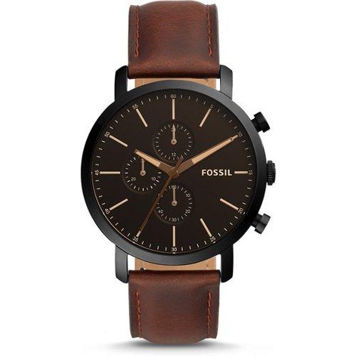 Unisex Montre Luther Chronographe En Cuir Brun - One size - Fossil - Modalova