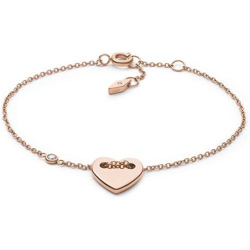 Men Bracelet Cœur En Acier Doré Rose - One size - Fossil - Modalova