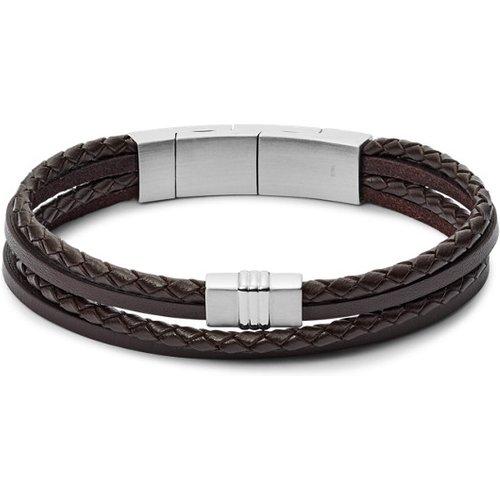 Men Bracelet Multi-Rangs En Cuir Tressé Brun - One size - Fossil - Modalova