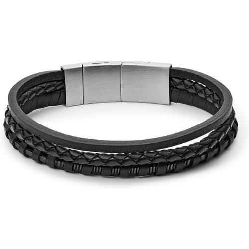 Men Bracelet Multi-Rangs En Cuir Tressé - One size - Fossil - Modalova