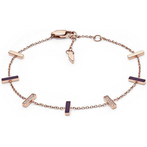 Unisex Bracelet En Acier Inoxydable Doré Rose Scintillant - One size - Fossil - Modalova