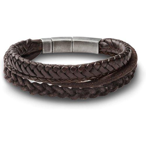 Men Bracelet Composé De Lannières Brunes En Cuir Tressé - One size - Fossil - Modalova