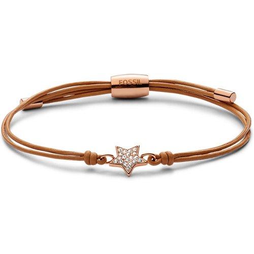 Unisex Bracelet En Cuir Doré Avec Étoile - One size - Fossil - Modalova