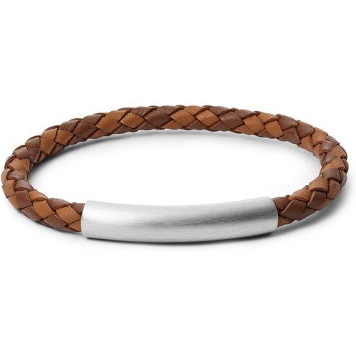Unisex Bracelet En Cuir Tressé Bicolore Et Acier Inoxydable Argenté - One size - Fossil - Modalova