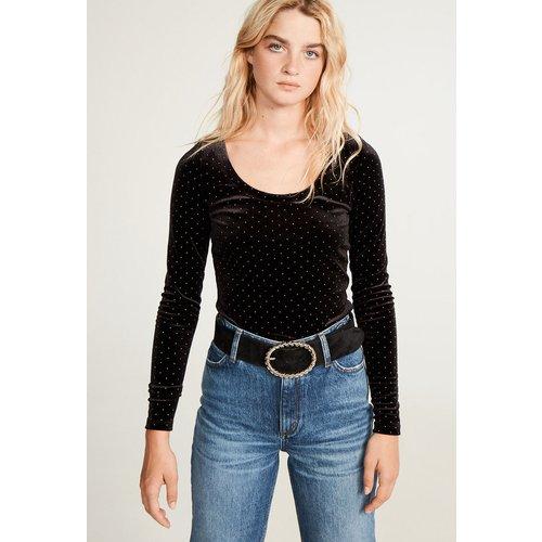 T-shirt noir à strass - Claudie Pierlot - Modalova