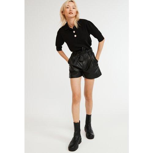 Short en cuir noir - CLAUDIE PIERLOT - Modalova