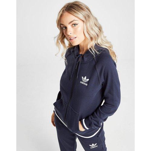 Sweatshirt & Hoodie im Sale - adidas Originals Trefoil Stripe Full Zip Hoodie - Blau - Womens, Blau