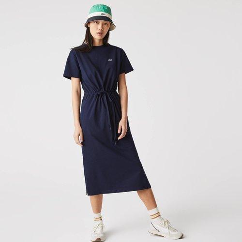 Robe t-shirt longue cintrée en coton uni Taille 2 - XS - Lacoste - Modalova
