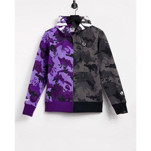 AAPE By A Bathing Ape - King Kong - Hoodie zippé à capuche et à imprimé camouflage - Noir et violet - AAPE BY A BATHING APE® - Modalova