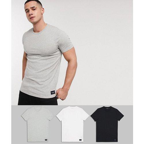 Lot de 3 t-shirts ras de cou avec étiquette griffée -Blanc/gris/ - Abercrombie & Fitch - Modalova