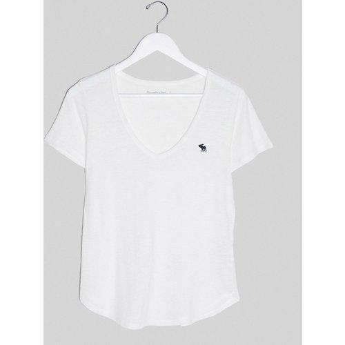 T-shirt col V à logo - Abercrombie & Fitch - Modalova