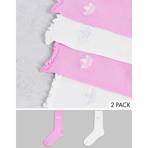 S Luxe - Lot de 2paires de chaussettes transparentes à volants - Rose et blanc - adidas Originals - Modalova
