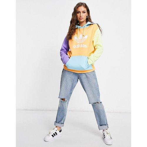 Adicolor - Sweat à capuche coupe boyfriend avec logo effet colour block - adidas Originals - Modalova