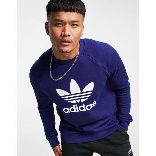 Adicolor - Sweat-shirt à grand logo trèfle - Bleu - adidas Originals - Modalova